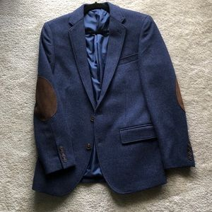 Men's J Crew blue wool blazer with elbow pads